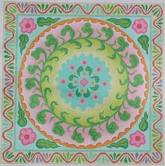 Kate Dickerson # PL159, Mexican Embroidery Circle in Square, 13 mesh, 14 x 14