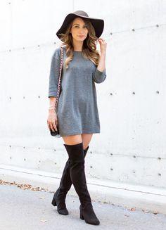 Chapéu+ vestido/ camiseta comprida+ meia calça+ bota over the knee