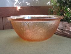 Floragold Serving Bowl Amber Vegetable Dish by LazyYVintage. Dpression Glass, http://www.etsy.com/shop/LazyYVintage