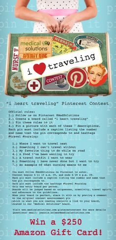 """i heart traveling"" Contest. Pin it to win $250 Amazon Gift card! #ihearttraveling #pinittowinit #cool"