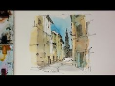 Pen and  Wash, Urban Sketch style watercolor demonstration. National Pantheon, Lisbon. Peter Sheeler - YouTube