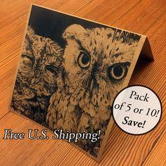 New to Atramentaria on Etsy: Three (3) Five (5) Ten (10) Screech Owl Art Greeting Card - Cute Owls Blank Square Greeting Card - Black Ink on Kraft Brown Paper (8.60 USD)