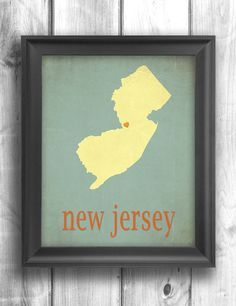 New Jersey Giclee Typographic print map art state poster wall sign choose your color - 11x14 Typography. $20.00, via Etsy.
