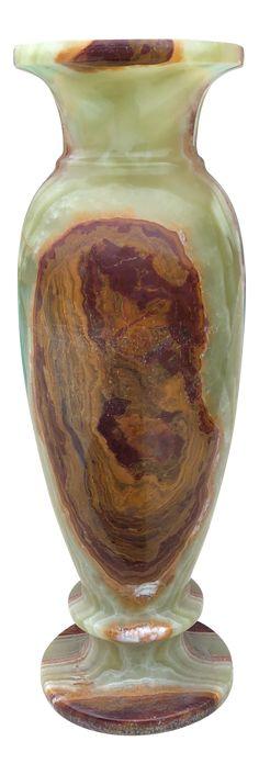 Vintage Mid-Century Tall Marble Onyx Vase