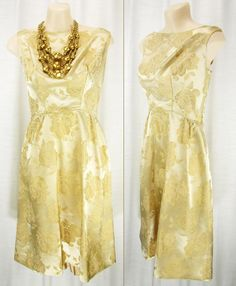 Vtg 60s Brilliant Gold/Bronze Brocade Jacquard by Nettetiques