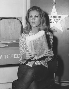 Elizabeth Montgomery outside her bewitched dressing room