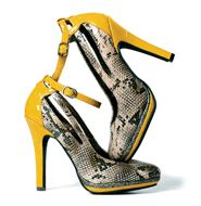 """mark Wildly Chic Pumps From the front, a neutral snake print; from the back, an edgy-cool mustard faux patent leather-; together, a mixed-media master piece! Padded footbed to keep it comfy. Snake print faux patent leather and faux patent leather. ½"""" platform, 4 1/2"""" heel."""