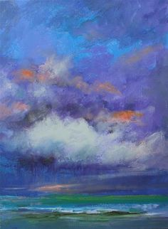 "Daily Paintworks - ""Storm Clouds Over Sea, Seascape Paintings by Amy Whitehouse"" - Original Fine Art for Sale - © Amy Whitehouse"