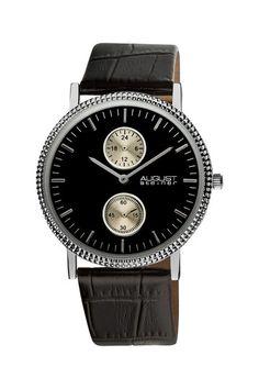 August Steiner Men's GMT Leather Strap Quartz Watch***