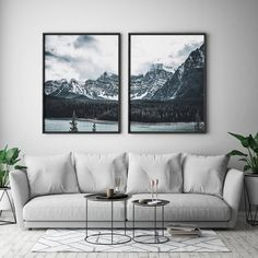 Set Of 2 Mountain Wall Art Forest Art Poster Snow Mountains Print Landscape Decor Nature Photo P Living Room Art, Living Room Designs, Kunst Poster, Forest Art, Oeuvre D'art, Alaska, Wall Art Prints, Bedroom Decor, Home Decor