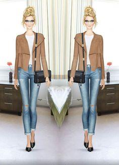70. Top - Veronica Beard | Jeans - DL 1961 | Jacket - Halston Heritage | Bag - Foley + Corinna | Heels - Vince Camuto | Glasses - Victory Optical