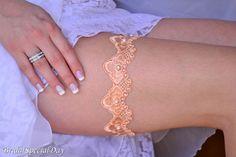 Orange Lace Wedding Garter Set Bridal Garter by BridalSpecialDay, €20.00