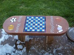stained glass game bench