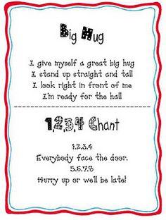 Line-up chants/songs. keeps 'em entertained ; Classroom Chants, Classroom Behavior, Kindergarten Classroom, Classroom Management, Behavior Management, Classroom Ideas, Class Management, Classroom Discipline, Classroom Procedures