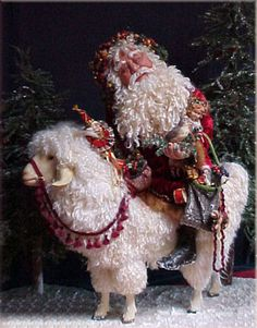 Santa on Goat, by Judith Klawitter (one of my favorite Santa Doll artists - I dream of owning one of her pieces some day ~mgh) Father Christmas, Christmas Love, All Things Christmas, Xmas, Santa Baby, Dear Santa, Primitive Santa, Santa Doll, Woodland Critters