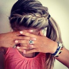 French braid to a side pony. So cute!!