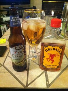 Angry Ball, 1 shot of Fireball with 1 bottle of Angry Orchard...delicious!