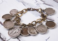 Mark Edge Vintage Coin Bracelet/Necklace! Available at Diving Cat Studio Gallery in Phoenixville, PA! http://divingcatstudio.com/shop-the-gallery/mark-edge-coin-braceletnecklace