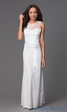 Long Illusion Sweetheart Lace Dress by Sally Fashion at SimplyDresses.com