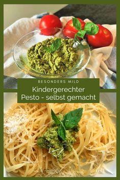 Pesto ist als Sauce für Pasta in der Familienküche sehr beliebt. Wir haben eine besonders milde und kindergerechte Variante direkt aus Sizilien ausprobiert, die einfach und schnell gelingt und Kindern besonders gut schmeckt. #Pesto #DieAngelones Spaghetti Al Pesto, Broccoli, Pesto Genovese, Pasta Sauce, Foodblogger, Ethnic Recipes, Happy, Crack Crackers, Italian Kitchens