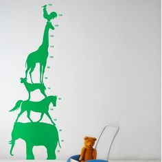 Animal Tower wall stickers by Ferm Living-Green
