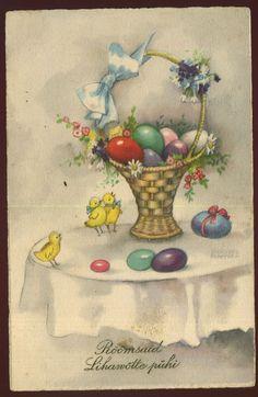 Hannes Petersen:Eggbasket and chicks, pre 1940