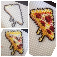 Pizza slice perler beads by forlongirl || This could also be used as a cross stitching reference!