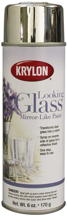 KRYLON-Looking Glass Mirror-Like Spray Paint. Transform clear glass into a mirror with this easy-to-use spray paint. Just spray it on the reverse side of the glass for a sleek mirror effect. Can be us