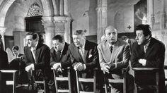 Les tontons flingueurs 1963 avec de gauche à droite Lino Ventura, Francis Blanche, Robert Dalban, Bernard Blier et Jean Lefebvre.