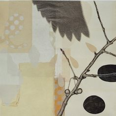 """Tammy Ratcliff after the rain, mixed print monoprint with chine collé 18"""" x 18"""" 2013"""