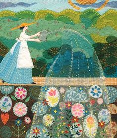 Beautiful fabric art and embroidery by belinda downes Collage, Illustrations, Illustration Art, Arte Country, Landscape Quilts, Arte Popular, Applique Quilts, Embroidery Art, Garden Embroidery
