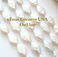 Exquisite Diamond Shape High Luster White Freshwater Pearls Designer Bead Strands. Beads are drilled at longest point and measure approximately 14mm long by 9mm at widest point