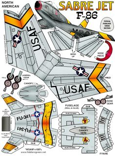 North American F86 Sabre paper craft model