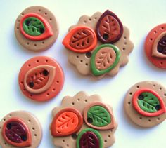 Button Retro Fall Leaves polymer clay buttons  7  by digitsdesigns, $9.00