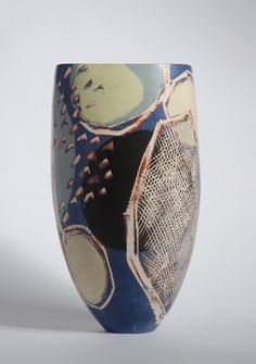 """Carolyn Genders, """"the surface quality I searched for; a way of creating surfaces, vibrant or subtle without the use of a glaze. Employing burnished slips as an alternative surface adds another dimension, creating a different mood. Early vessels were vehicles for decoration, now I am more interested in creating pieces that have harmony of form and surface. Landscape in its loosest interpretation continues to be the inspiration for my new series of work. http://carolyngenders.co.uk/"""