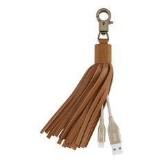 MIXIT↑ Lightning to USB Leather Tassel - Gold -  FrontViewImage