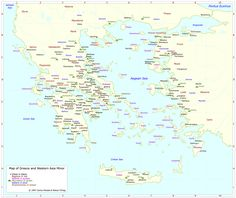 Map of Greece and Western Asia Minor - Greek Mythology Link