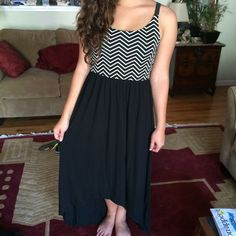 Zig Zag Stripe Maxi Dress High-low style. Good condition. Xhilaration Dresses Maxi