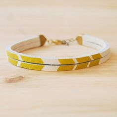 "Image of Leather Bracelet in White with Mustard Yellow Chevron, ""The Pecos Handpainted"""