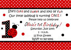 Lady Bug Birthday Invitation ladybugs Pinterest Ladybug