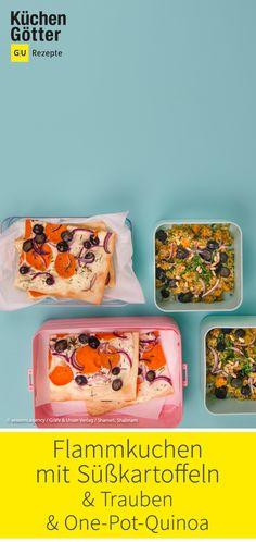 Rezept für Flammkuchen mit Süßkartoffeln und Trauben und One-Pot-Quinoa mit Süßkartoffeln - perfekt für Meal Prepping. Pot Pasta, Lunch Box, Sweet Potato Recipes, Gluten Free Recipes, Food Portions, Bento Box