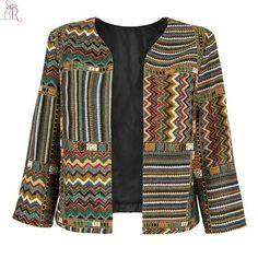 Yellow Slim Geometric Folk Tribal Striped Jacket Coat Outwear Open Front Three Quarter Sleeve Casual Women Autumn