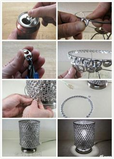 40 Clever and Creative DIY Recycle Lampshades Ideas design DIY interiors Lampshades Recycle 681310249858548949 Soda Tab Crafts, Can Tab Crafts, Aluminum Can Crafts, Metal Crafts, Recycled Crafts, Fun Crafts, Recycled Wood, Tape Crafts, Recycler Diy