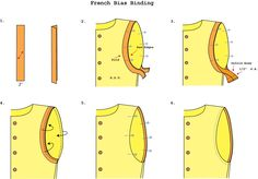 Tutorial: Bias binding an armhole. Written instructions included on the site.