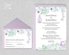 Mint and Lavender Alice in Wonderland Invitation by ScriptAndLily