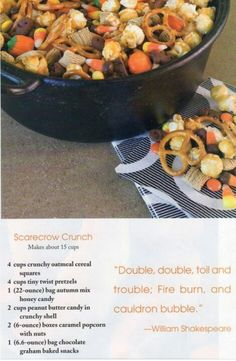 Scarecrow Crunch- fall baby shower ideas                                                                                                                                                     More