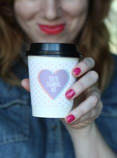 {DIY: free printable valentine coffee sleeves} | The Sweet Escape