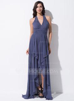 A-Line/Princess Halter Asymmetrical Chiffon Prom Dress With Bow(s) Cascading Ruffles (018052695)