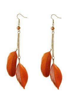 Louche Orange Feather Earrings