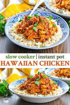 Hawaiian Chicken {Slow Cooker + Instant Pot} - - This sweet and tender pulled barbecue Hawaiian Chicken can be prepared in the Crock Pot or in the Instant Pot for an easy dinner recipe with just 5 minutes of prep! Hawaiian Chicken Slow Cooker, Slow Cooker Chicken, Crock Pot Chicken, Barbacoa, Chicken Thigh Recipes, Pineapple Chicken Recipes, Hawian Chicken, Recipes With Canned Chicken, Gastronomia